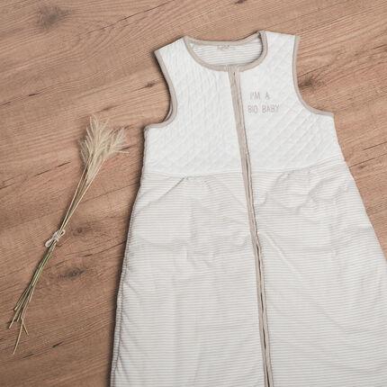 Saquito para dormir sin mangas de algodón bio con rayas acolchado