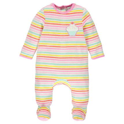 Pijama de terciopelo de rayas con parche de cupcake y abertura que se adapta según la edad