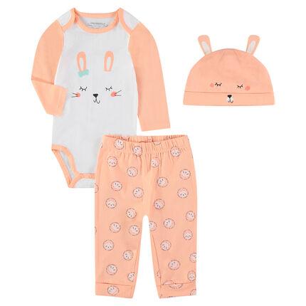 Conjunto para recién nacido con pijama, body y gorro con estampado de conejo
