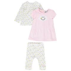 Conjunto de camiseta, leggings y vestido sin mangas con estampados de Smiley