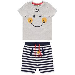 Ensemble avec t-shirt print Smiley et short rayé à poche