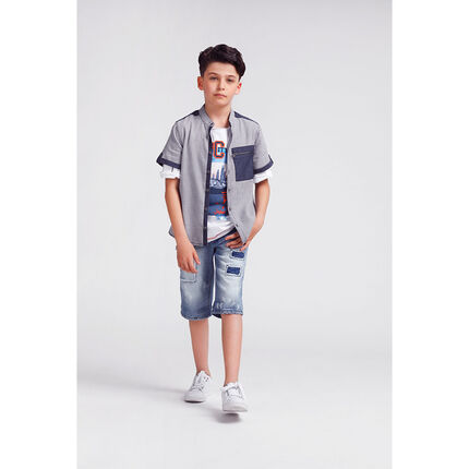 Júnior - Camisa de cuadros all over con detalles de cambray