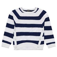 Jersey de punto de estilo marinera con cortes asimétricos
