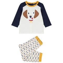 Pijama de jersey con perro bordado , Orchestra