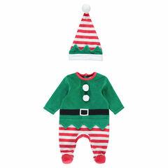 Pijama de terciopelo de duende de estilo navideño con gorro a rayas