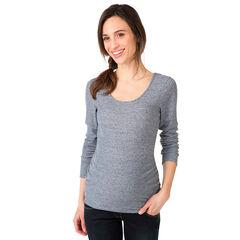 Camiseta de manga larga de premamá jaspeada con acanalado
