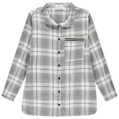 Júnior - Camisa de manga larga de cuadros con inscripción estampada en la espalda