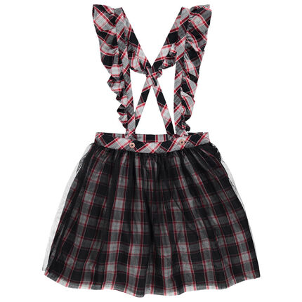 Falda de cuadros con tirantes con volantes Minnie