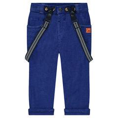 Pantalón de terciopelo azul con tirantes desmontables