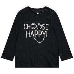 T-shirt manches longues en coton bio print SmileyWorld pour bébé garçon , Orchestra
