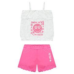 Conjunto de camiseta con estampado ©Smiley y pantalón corto con encaje