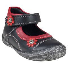 Zapatos merceditas de cuero de color negro y rojo con detalle de flores con remaches