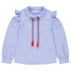 Júnior - Camisa de manga larga de rayas con hombros calados y cenefas bordadas