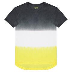 Júnior - Camiseta de punto de manga corta con juego de contrastes tie-dye