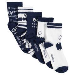 Juego de 5 pares de calcetines variados con monstruos de jácquard