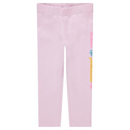 Leggings cortos de punto rosa con inscripción estampada