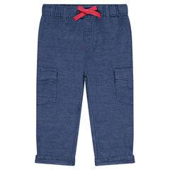 Pantalón de algodón de fantasía con cintura elástica y bolsillos