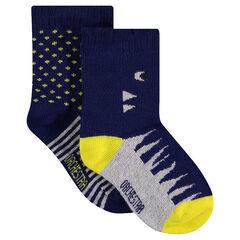 Juego de 2 pares de calcetines variados con motivo de jacquard de fantasía