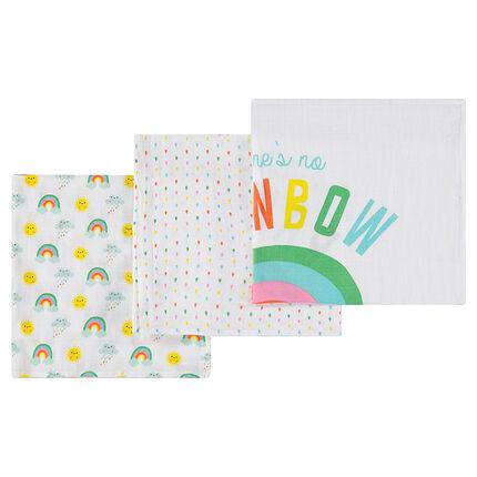 Juego de 3 mantillas de tetra 70 x 70 cm con dibujo de arco iris