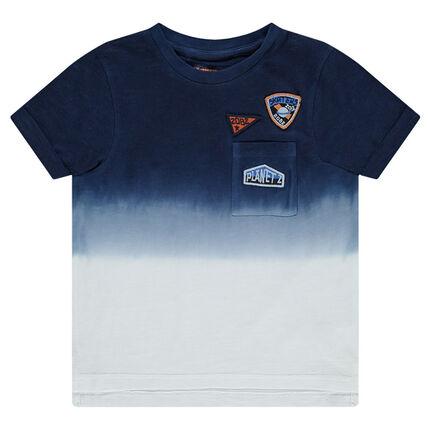 Camiseta de manga corta de punto con efecto tie-dye