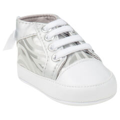 Zapatos merceditas de caña alta de color plateado con cordones con estampado con lazos fantasía