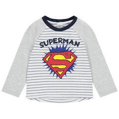 camiseta mangas largas de rayas print logo Superman