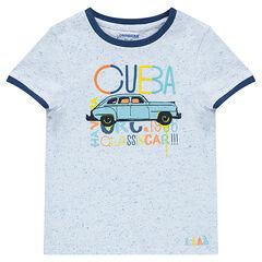 Camiseta de manga corta de punto neps con coche estampado