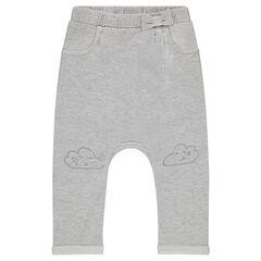 Pantalón de chándal de felpa lisa con nube estampada en las rodillas