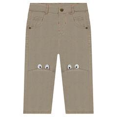 Pantalón de sarga con ojos estampados