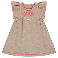 Vestido de algodón de fantasía con bordados y pompones