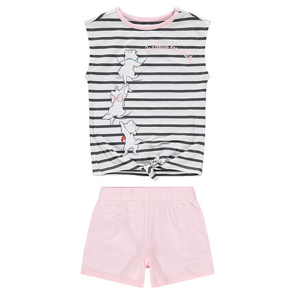Pijama de punto con parte superior de rayas con estampado de Aristogatos ©Disney
