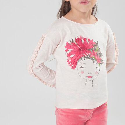 Camiseta de manga larga con volantes y estampado de fantasía