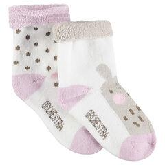Juego de 2 pares de calcetines variados con lunares y animal de jacquard