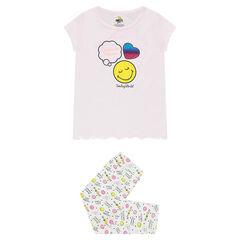 Pijama de punto con estampado ©Smiley y corazón de lentejuelas