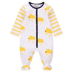 Pijama de punto con nubes y rayas estampadas