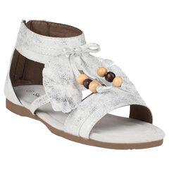 Zapatos descubiertos de pluma con fantasía de color blanco y plateado