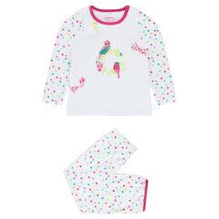 Pijama de terciopelo con loros bordados
