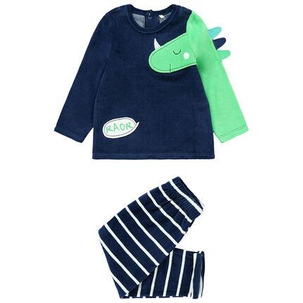 Pijama de terciopelo con dinosaurio y pantalón de rayas