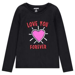 Júnior - Camiseta de manga larga de punto con corazones de lentejuelas mágicas