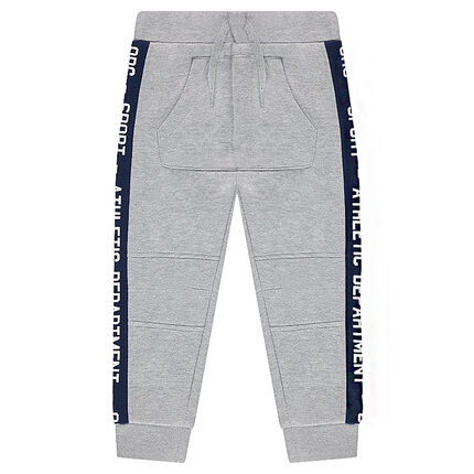 Pantalón de chándal de felpa con bandas en contraste y bolsillo