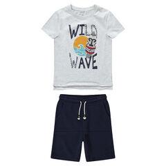 Júnior - Conjunto de camiseta con estampado de tribal y bermudas