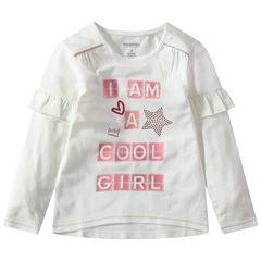Camiseta de manga larga con volantes e inscripciones estampadas