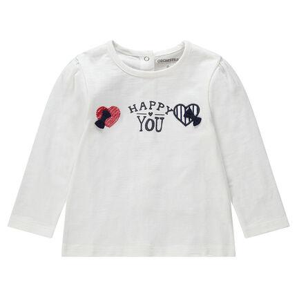 Camiseta de manga larga de punto con corazones bordados y lazos