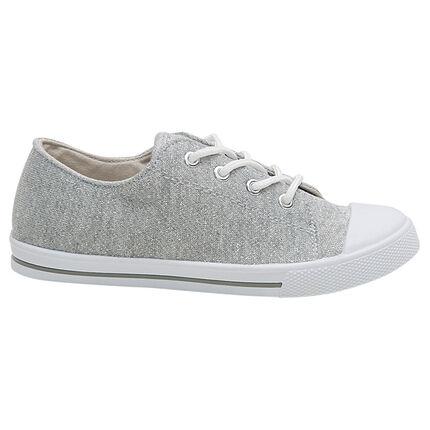 Zapatillas bajas brillantes de tela con cordones elásticos del 28 al 35
