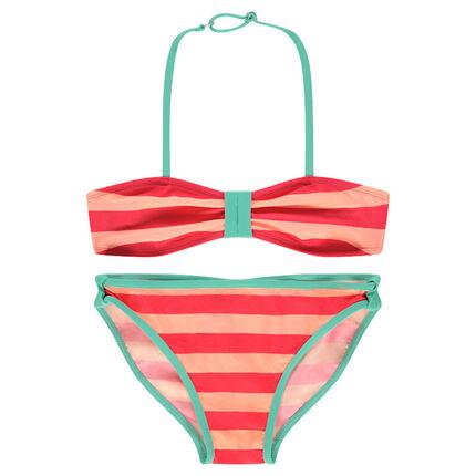 Júnior - Bikini de rayas que contrastan