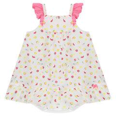 Vestido 2 en 1 en tejido de gasa de algodón con estampado ©Smiley y bloomer integrado