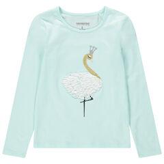 Camiseta de manga larga de punto con cisne bordado