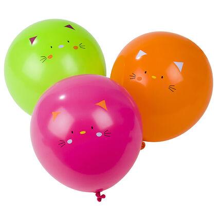 Juego de 10 globos de cumpleaños inflables con dibujo de gato