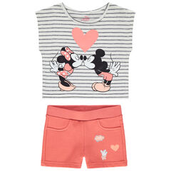 Conjunto con short de color coral y camiseta corta con estampado de Mickey y Minnie Disney