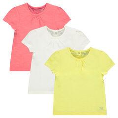 Pack de 3 camisetas de manga corta lisas